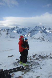 Parents to be on top of Creta di Vella with the bump