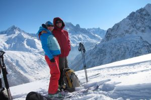On a summit with my mom and dad with Mont Blanc in the background